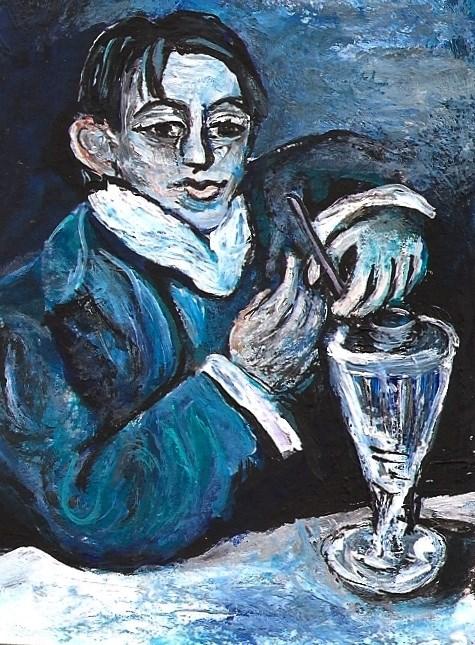 """""""ACEO Angel Fernandez de Soto a la Picasso Painting by Penny Lee StewArt"""" original fine art by Penny Lee StewArt"""