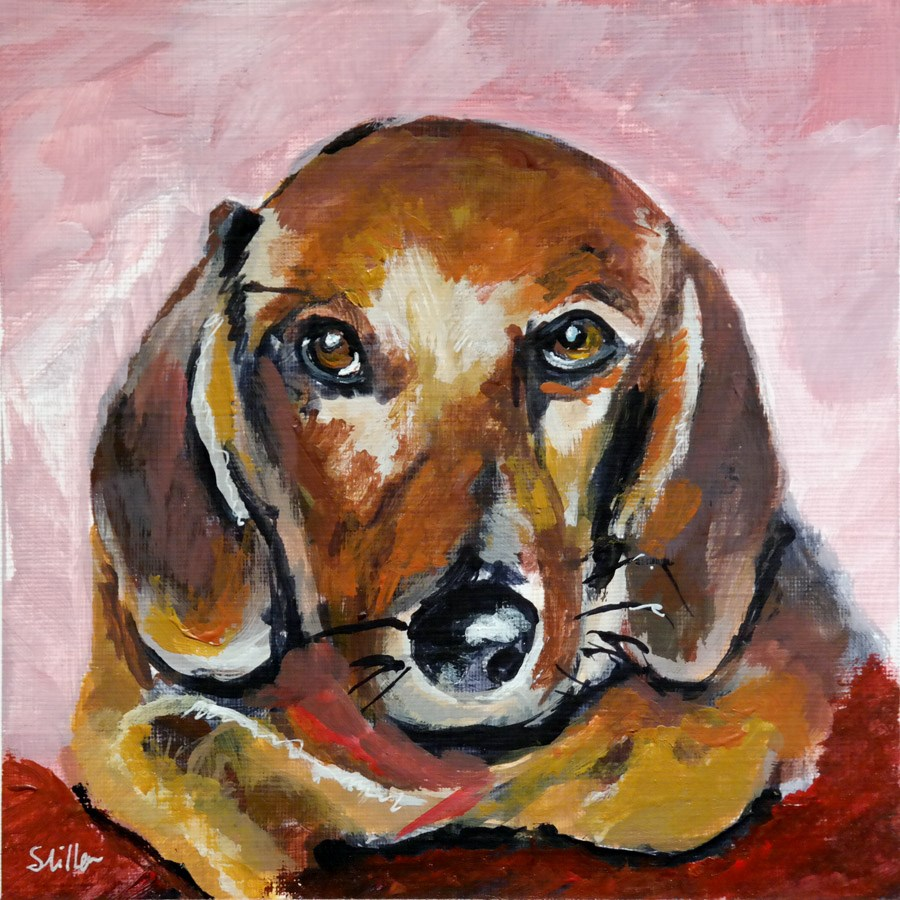 """1973 Dachshund"" original fine art by Dietmar Stiller"