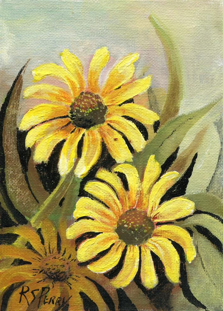 """Black eyed Susan "" original fine art by R. S. Perry"