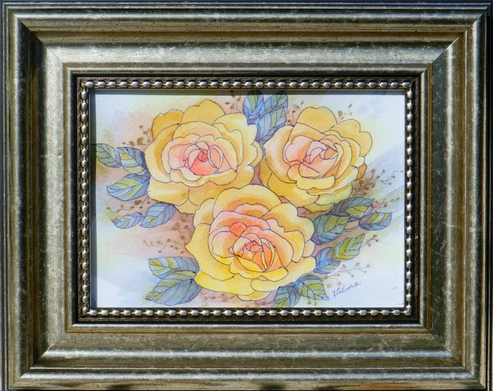 """""""Yellow Roses"""" original fine art by Velma Davies"""