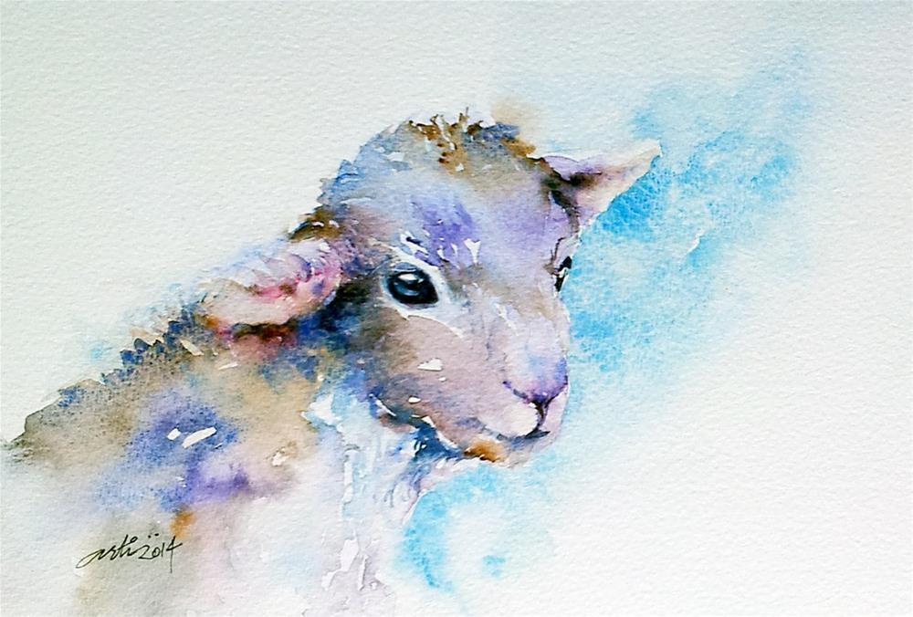 """""""Little Lamb Blue"""" original fine art by Arti Chauhan"""