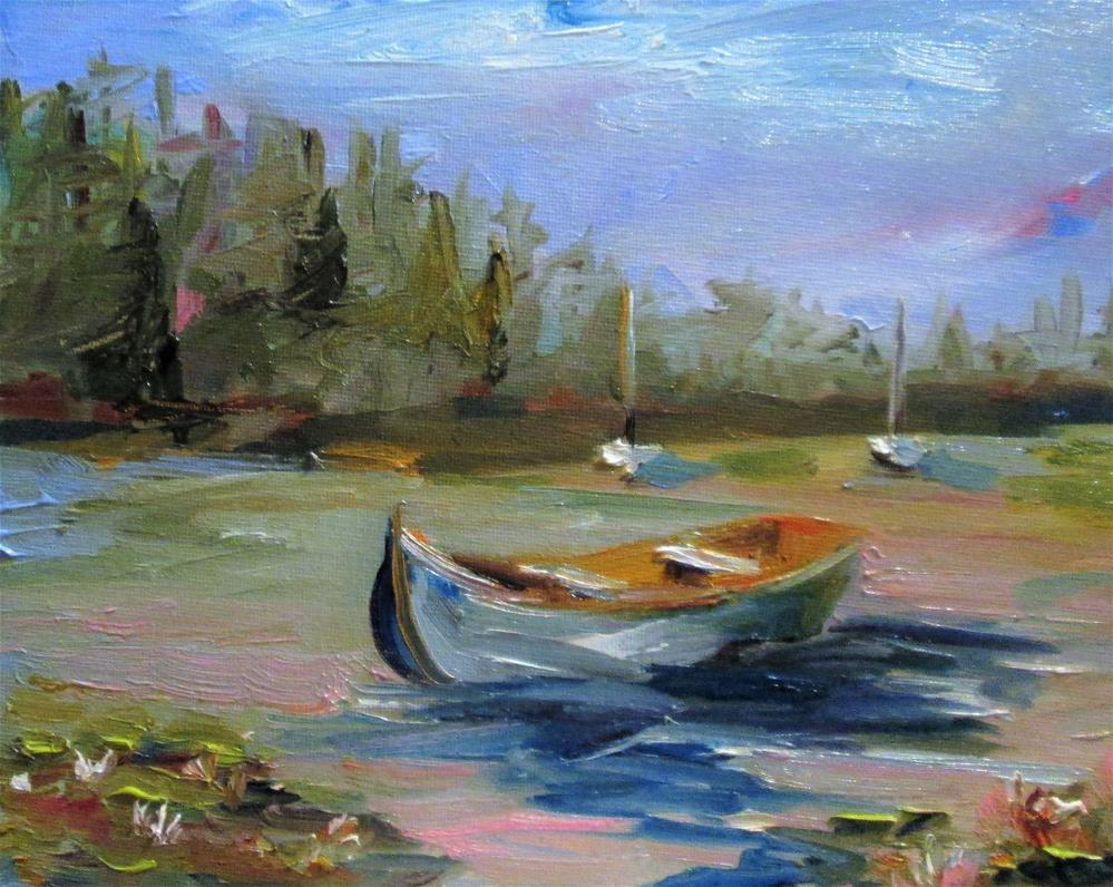 """Row Boat on the Lake"" original fine art by Delilah Smith"
