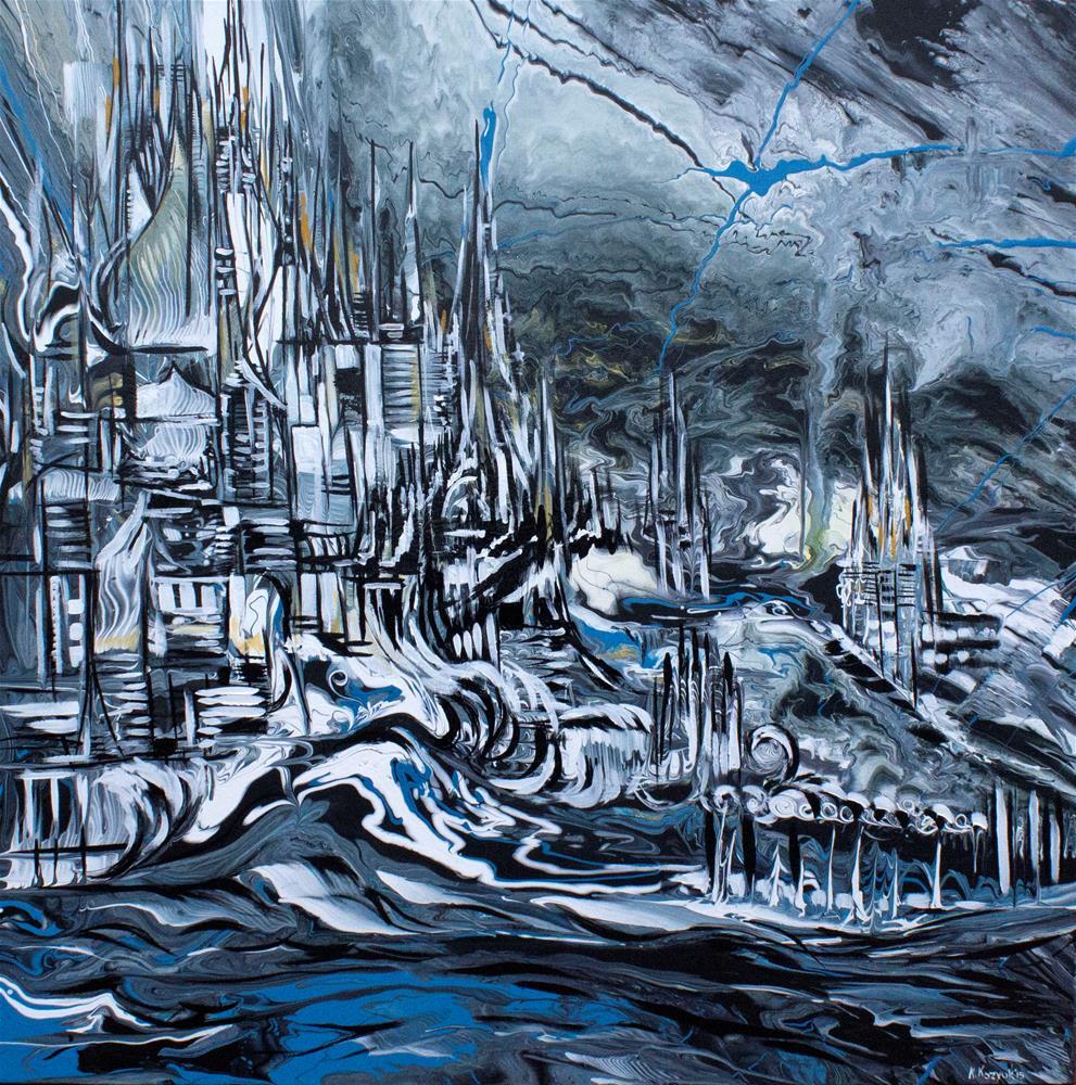 """Castle Storm,original painting on cancas"" original fine art by Khrystyna Kozyuk"