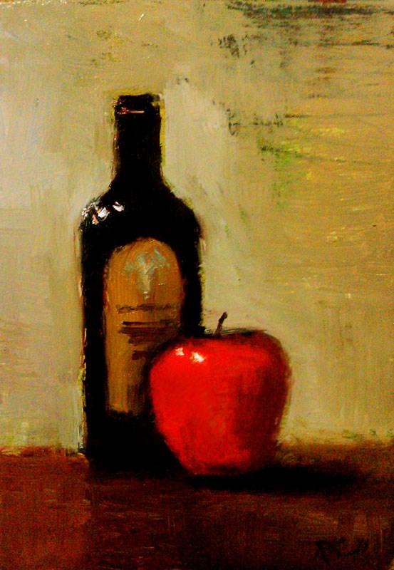 """Balsamic and Red Apple"" original fine art by Bob Kimball"