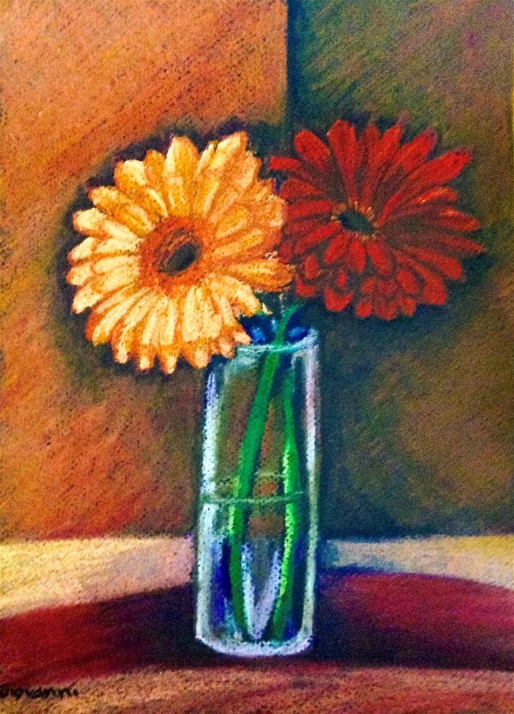 """Gerbera Daisies in blue vase"" original fine art by Giovanni Antunez"