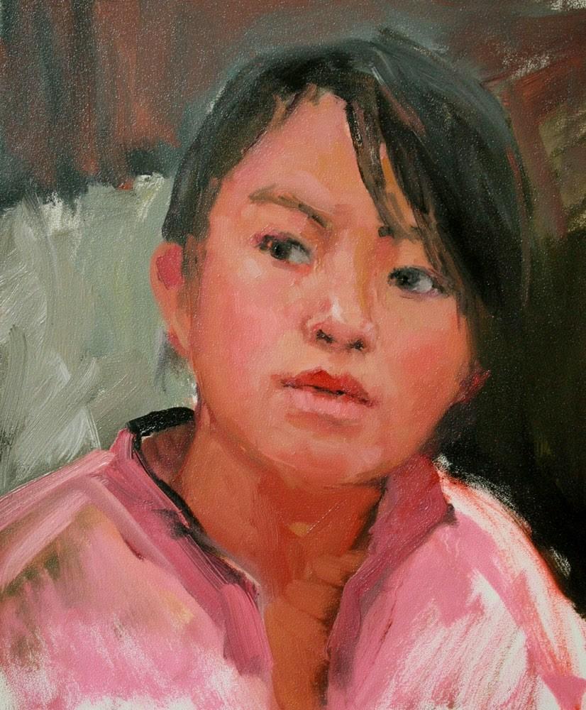 """Girl in Pink"" original fine art by Kathryn Townsend"