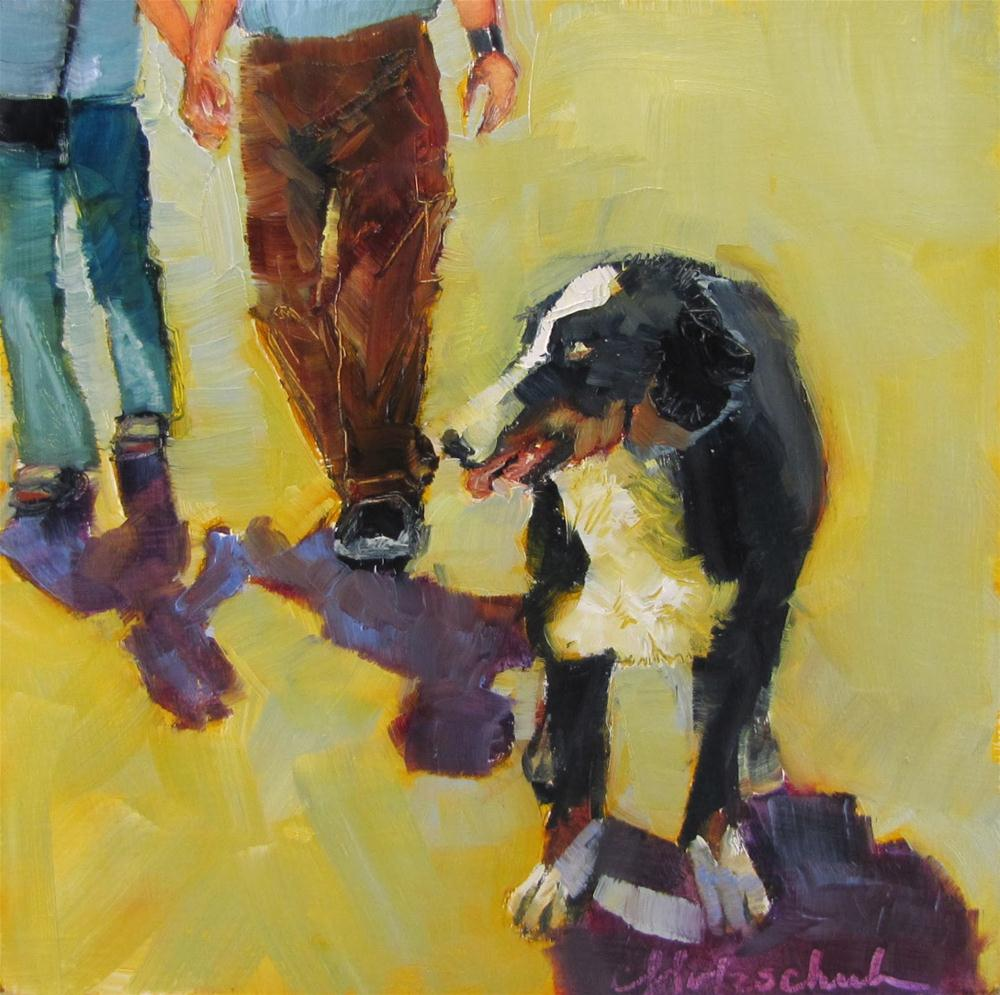 """Come On, Guys!   oil  6x6  animal, figurative  $100"" original fine art by Christine Holzschuh"