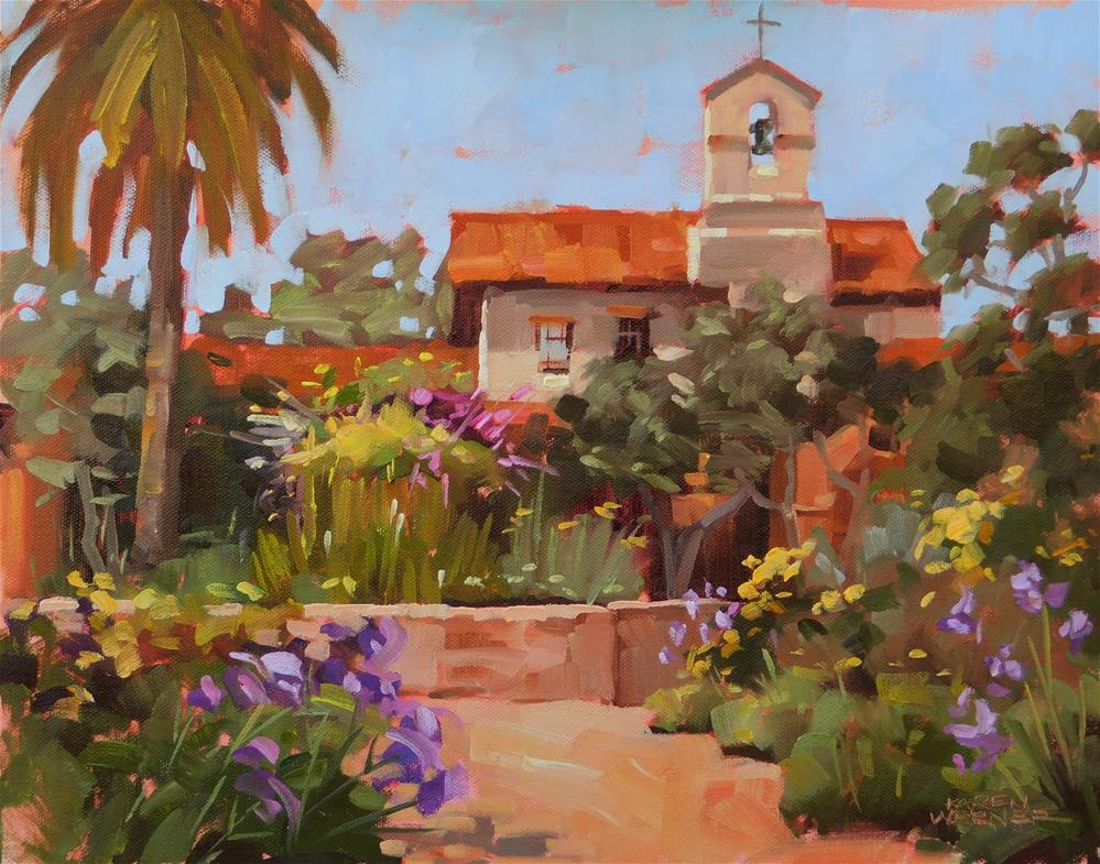"""""""Mission Spring Fountain"""" original fine art by Karen Werner"""