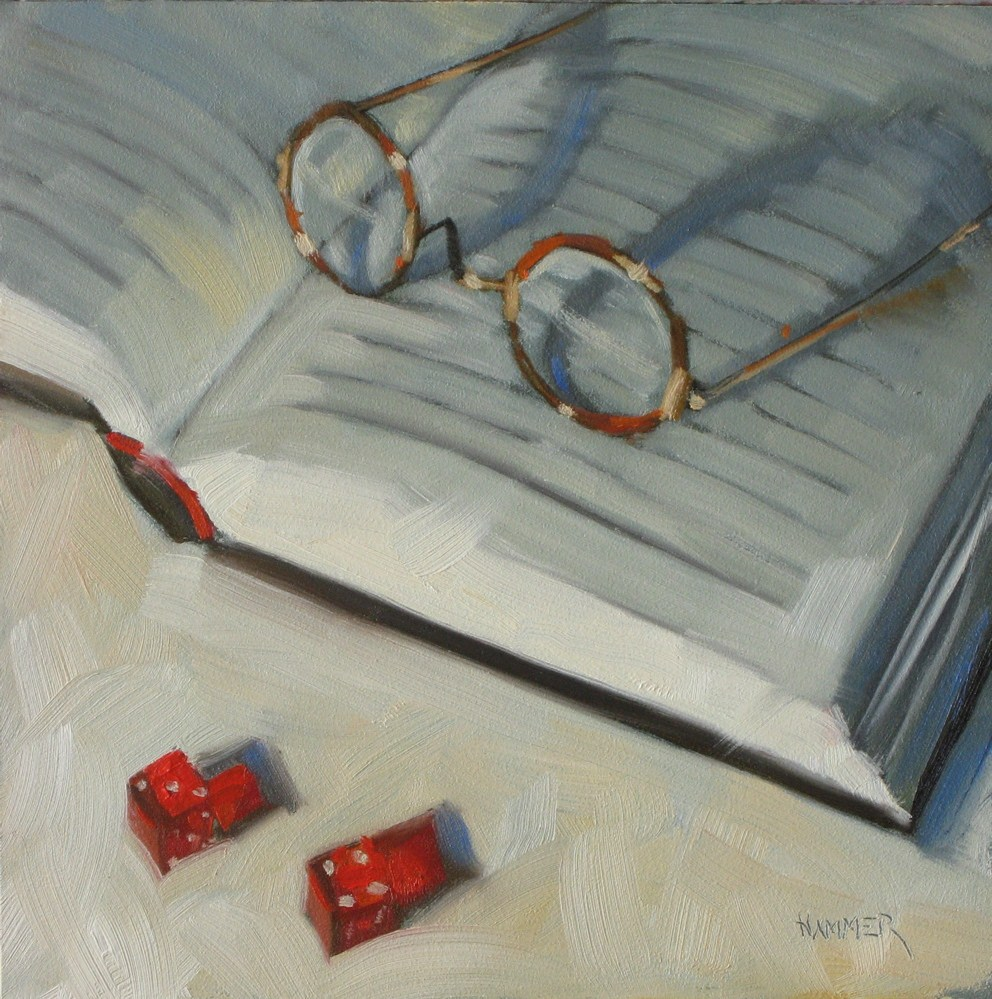 """Reading a thriller 6x6 oil"" original fine art by Claudia Hammer"