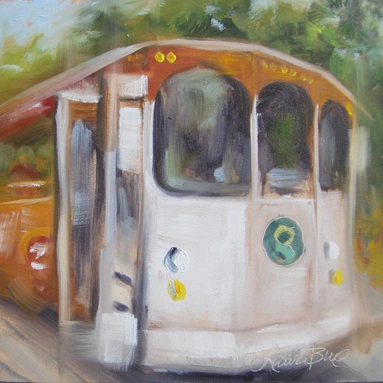 """""""Greenville Trolley - 400"""" original fine art by Laura  Buxo"""