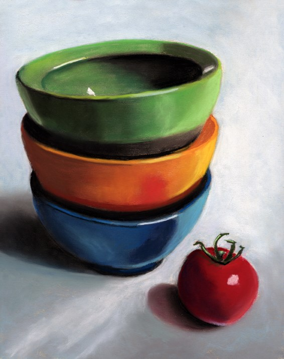 """3 Bowls Still Life painting"" original fine art by Ria Hills"
