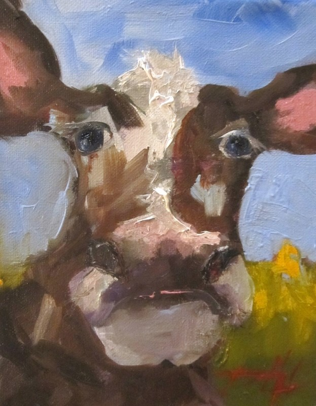 """Brown Cow"" original fine art by Delilah Smith"