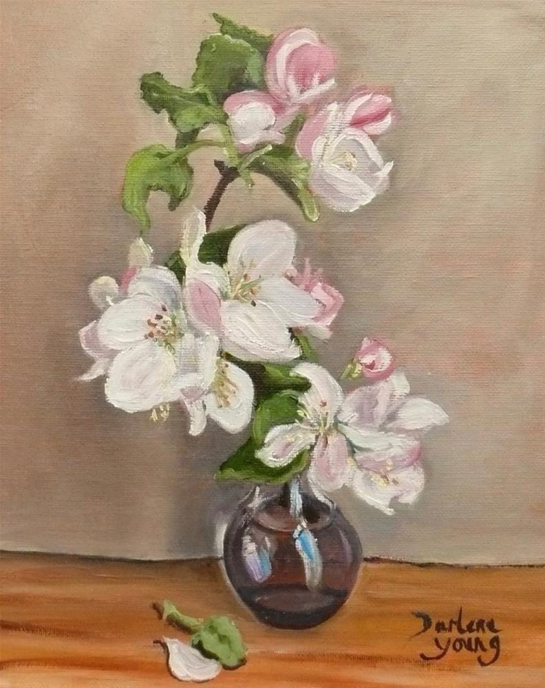 """1114 Apple Blossoms in a Glass Bulb, 8x10, oil on board"" original fine art by Darlene Young"