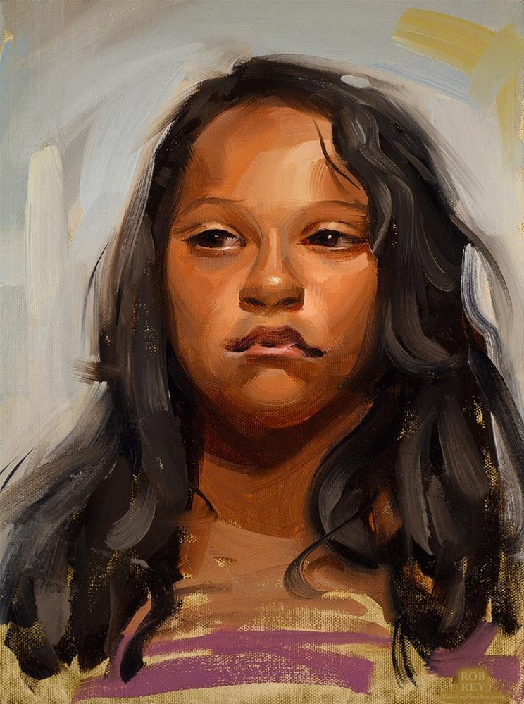 """Young girl"" original fine art by Rob  Rey"