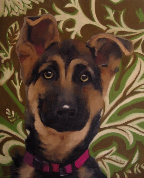 """Patience a soulful eyed dog German Shepherd"" original fine art by Diane Hoeptner"