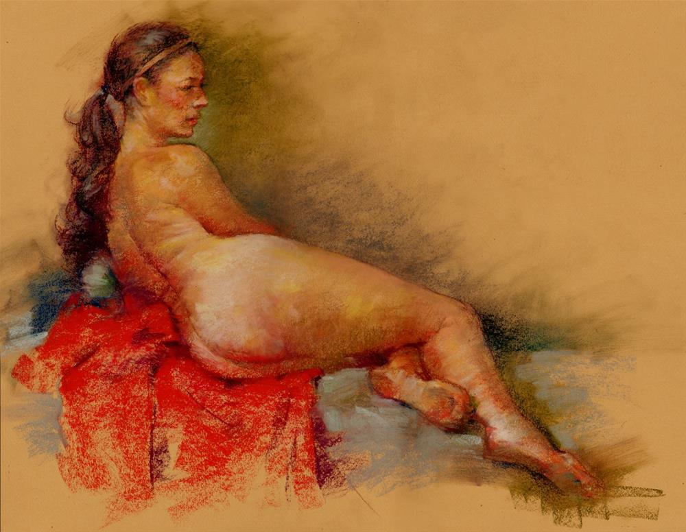 """""""Red Blanket"""" original fine art by Sabrina Zhou"""