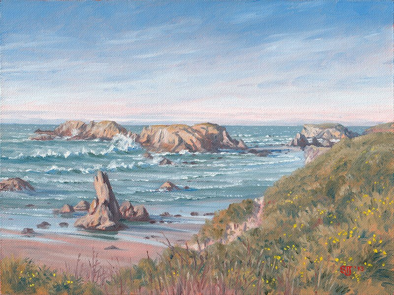 """C1537-Looking North from Face Rock Overlook (Bandon, Oregon Coast)"" original fine art by Steven Thor Johanneson"