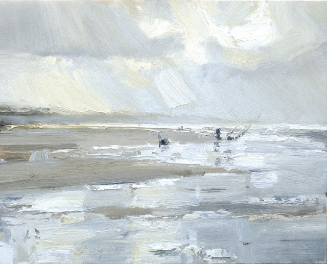 """""""Seascape winter # 10 Fisherman and water reflections"""" original fine art by Roos Schuring"""