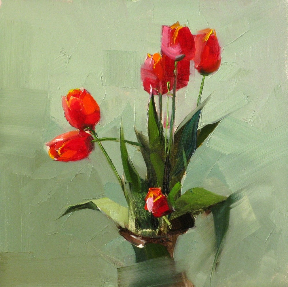 """Tulips in Spring"" original fine art by Qiang Huang"
