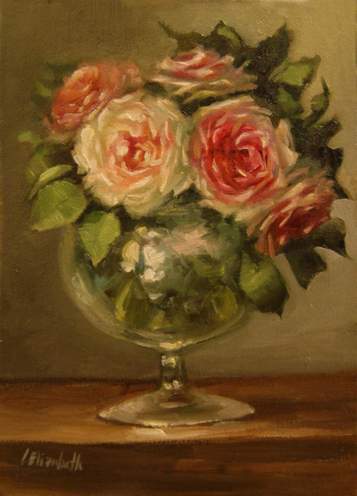 """""""Pink Roses Glass Vase,  Oil on 5x7 Linen Panel"""" original fine art by Carolina Elizabeth"""
