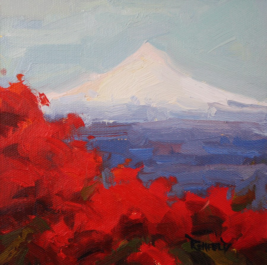 """Mt Hood With Rhodies"" original fine art by Cathleen Rehfeld"