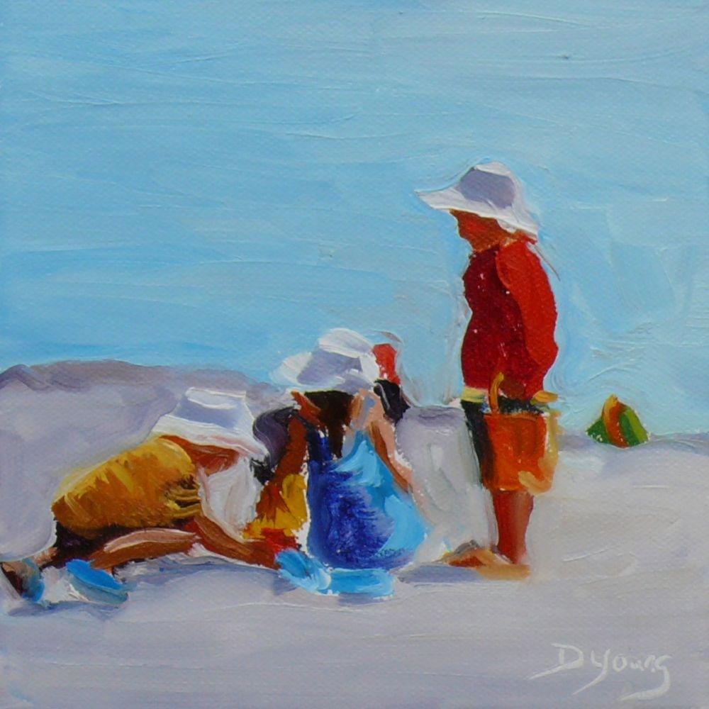 """White Caps, oil on canvas board, 6x6"" original fine art by Darlene Young"