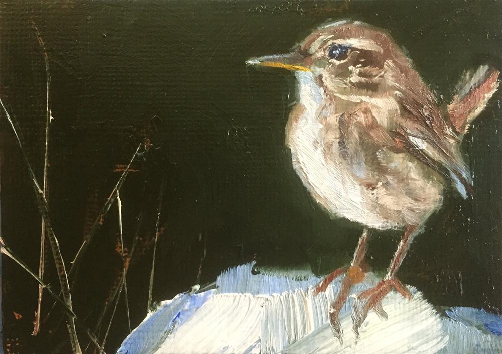 """""""Wren on Snow"""" original fine art by Gary Bruton"""