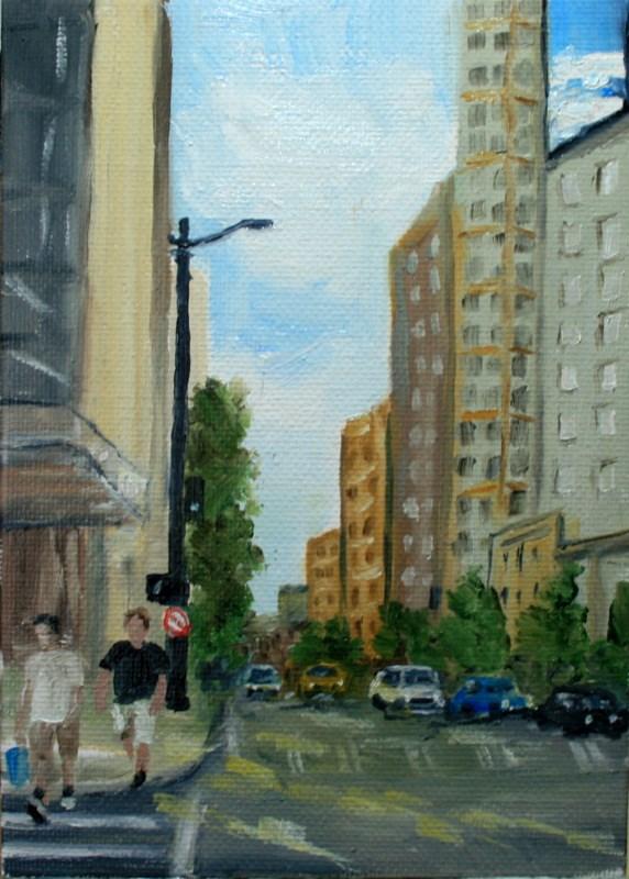 """""""Downtown"""" original fine art by Jean Nelson"""