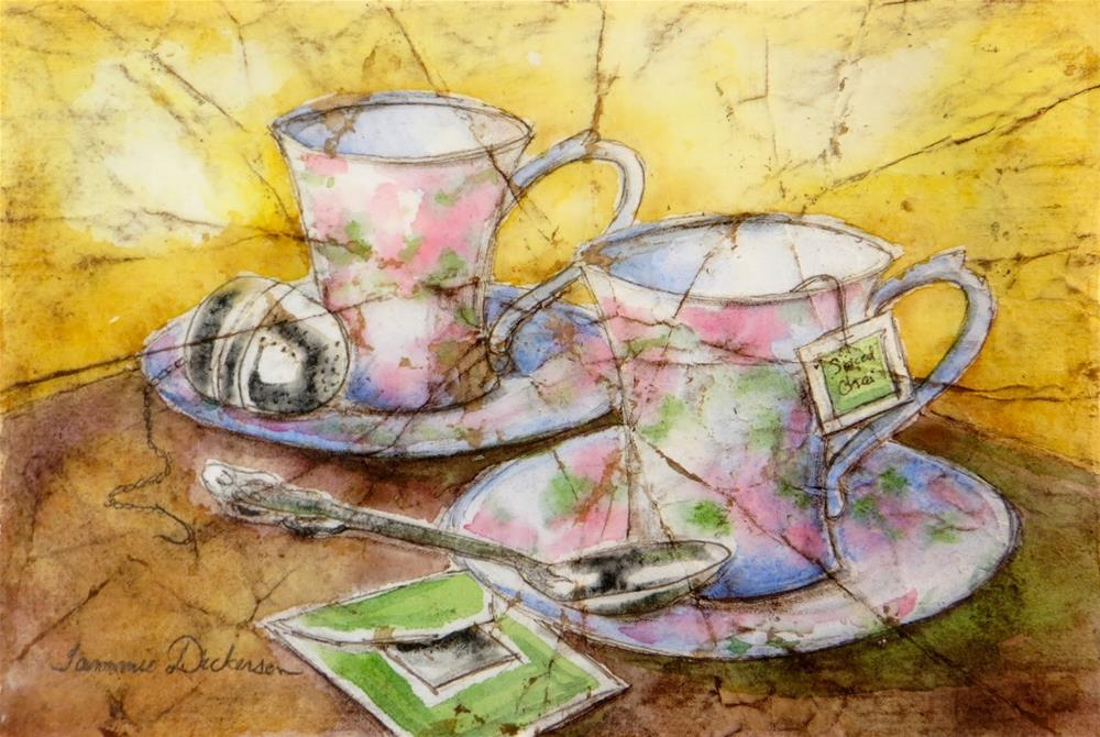 """""""Time for Tea"""" original fine art by Tammie Dickerson"""