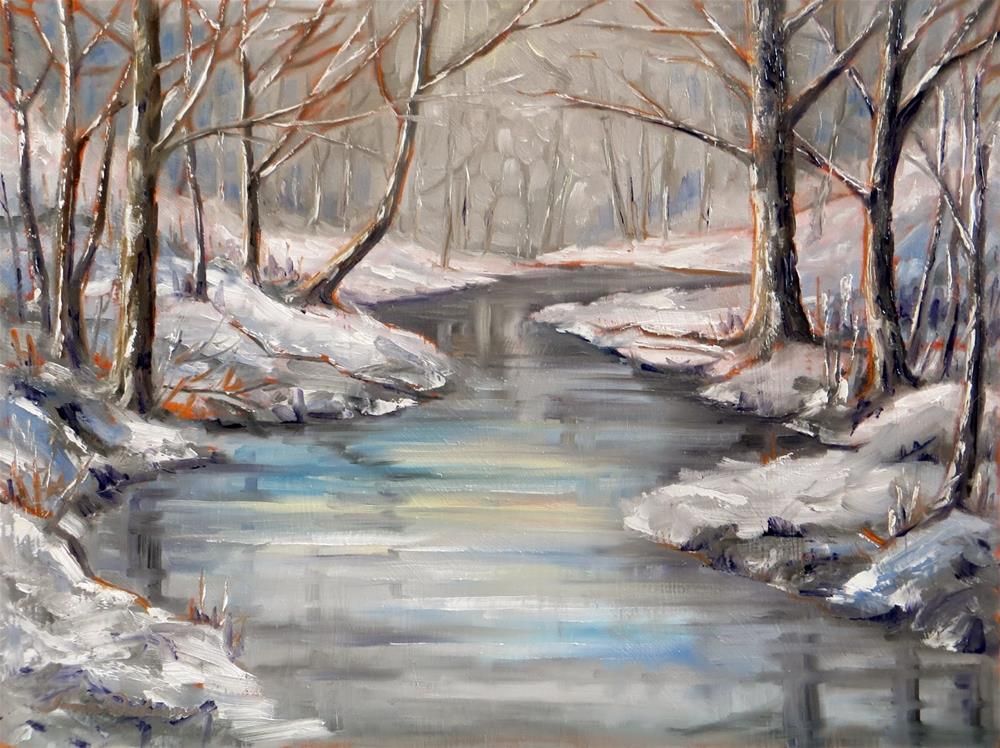"""""""February Snow at the Creek"""" original fine art by Tammie Dickerson"""