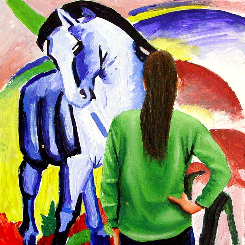 """""""Blue Horse- Painting Of Woman Enjoying Painting By Franz Marc"""" original fine art by Gerard Boersma"""