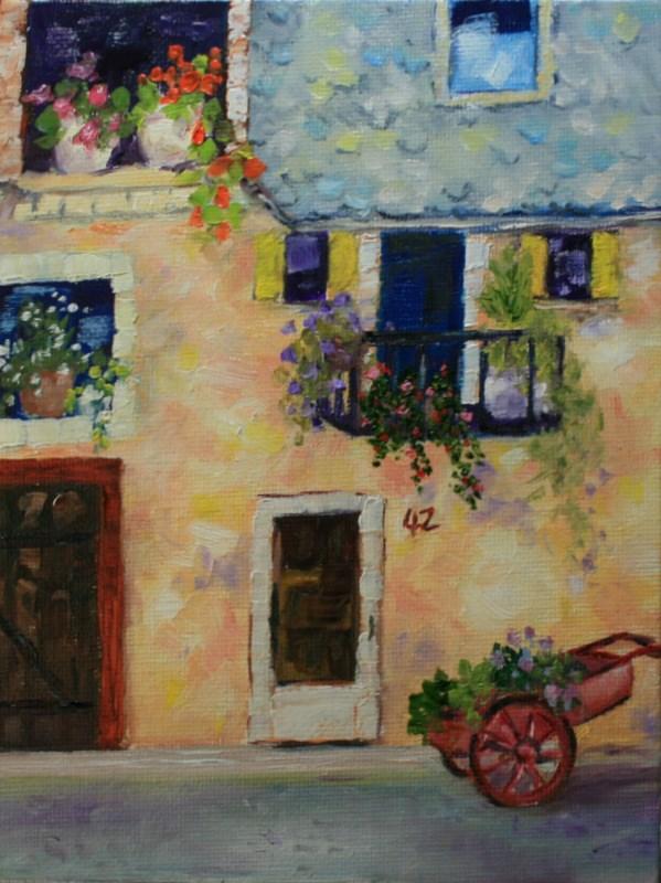 """42 Rue des Fleurs"" original fine art by Jean Nelson"