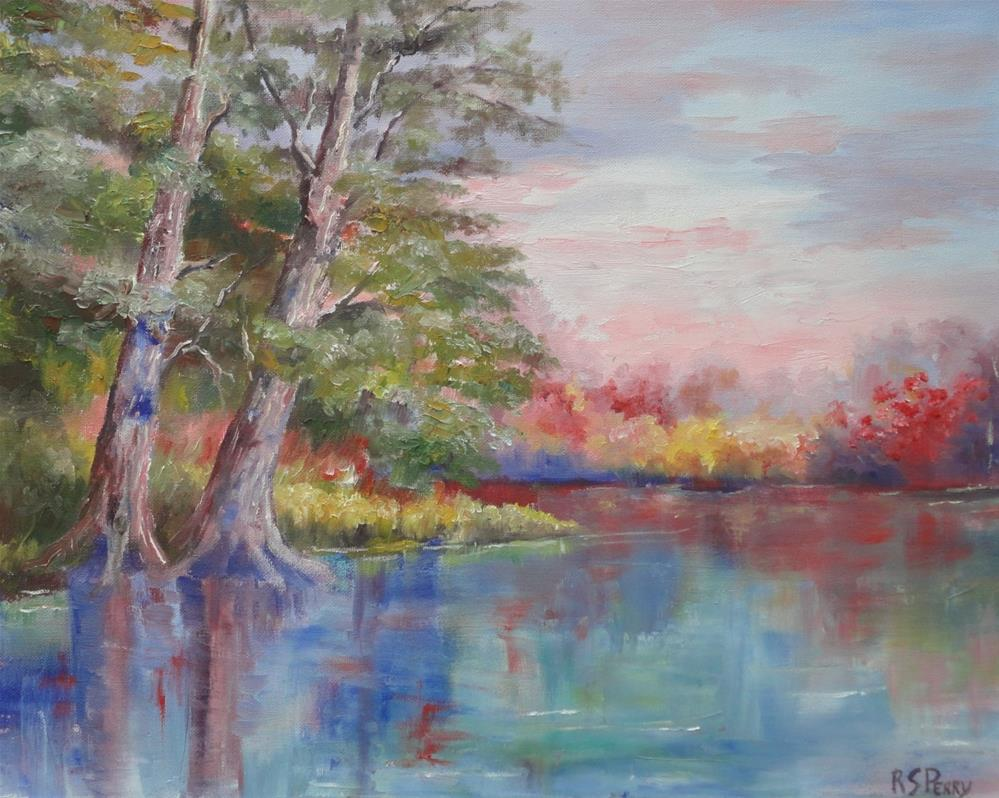 """""""Cypress Trees in a landscape untitled"""" original fine art by R. S. Perry"""