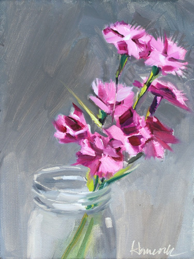 """Pinks in a Glass Jar"" original fine art by Gretchen Hancock"