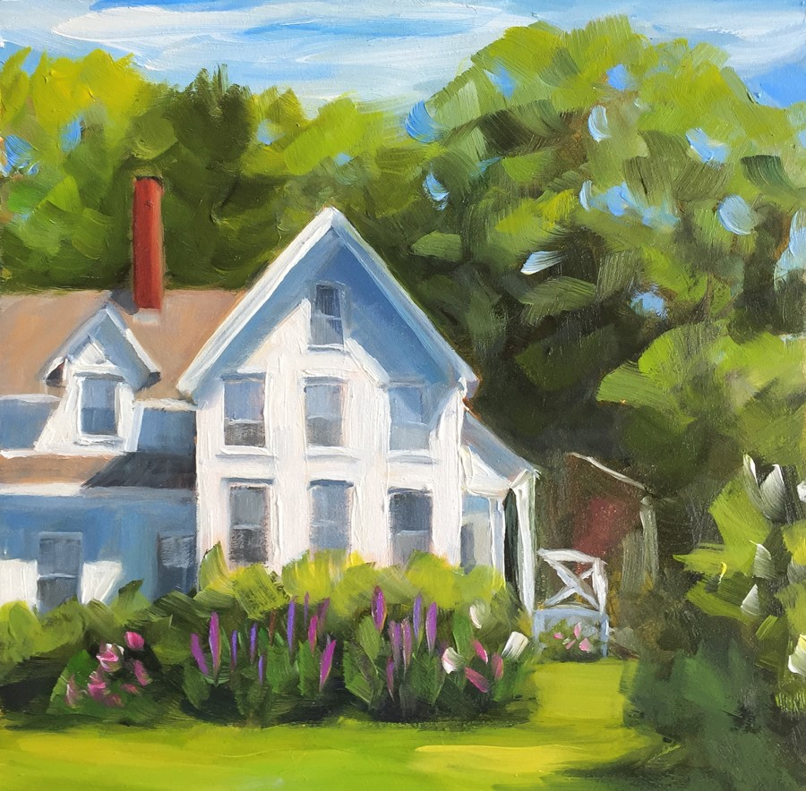 """#83 - Main House Harborfields-Boothbay Harbor, ME"" original fine art by Sara Gray"