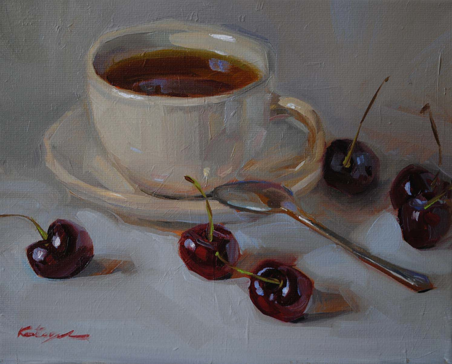 """""""Cherry Tea"""" original fine art by Elena Katsyura"""