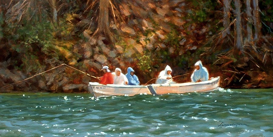 """LAKE FISHING"" original fine art by Dj Lanzendorfer"