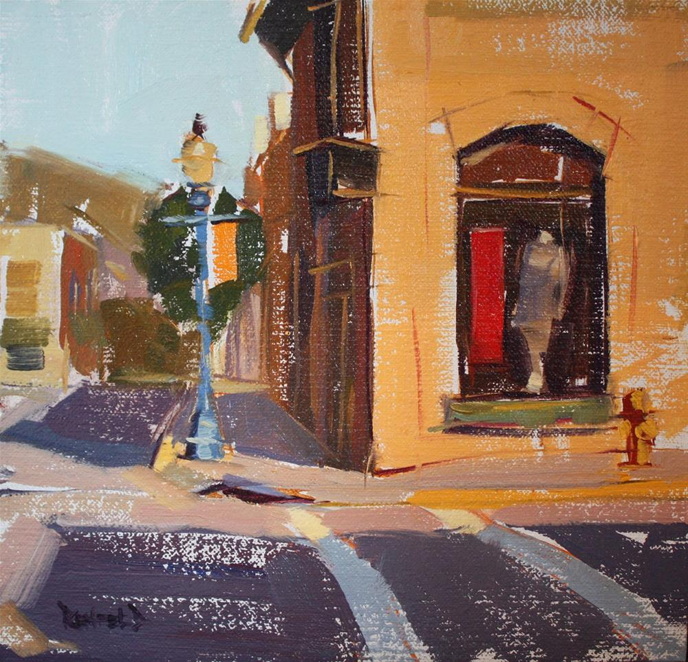 """Corner of 3rd and Oak"" original fine art by Cathleen Rehfeld"