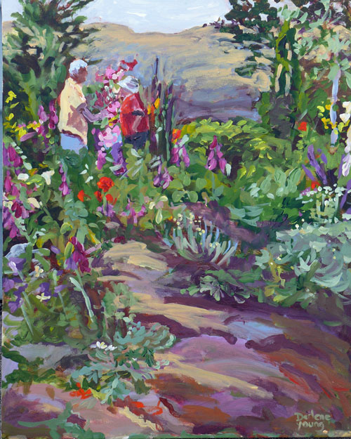 """Garden Talk, acrylic on canvas, 16x20"" original fine art by Darlene Young"