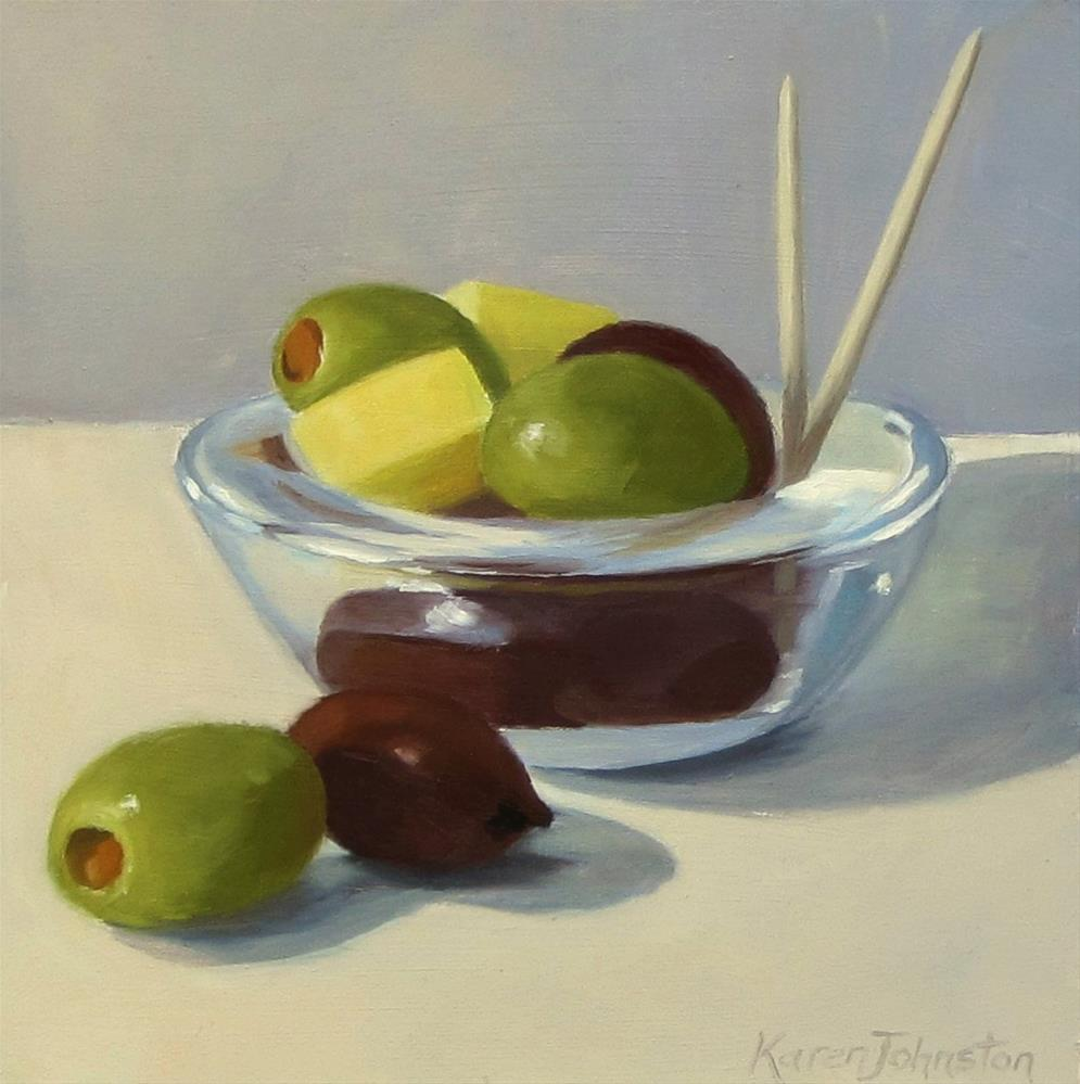 """""""Cheese and Olive Snack"""" original fine art by Karen Johnston"""
