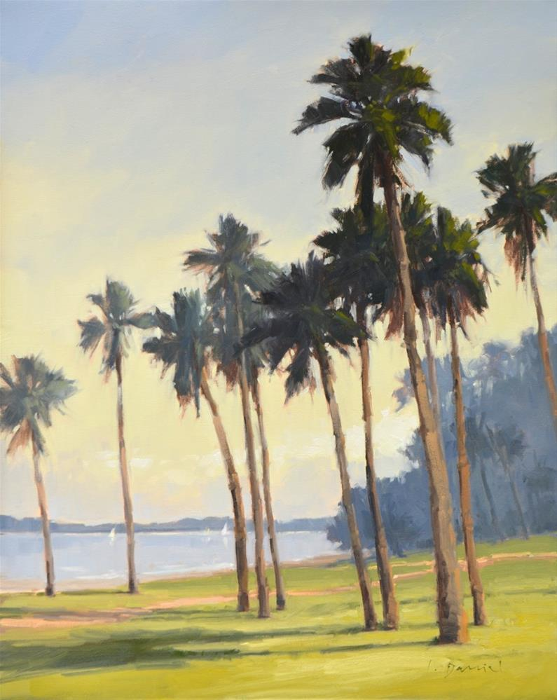"""Beachfront Palms - Show Tip #18"" original fine art by Laurel Daniel"