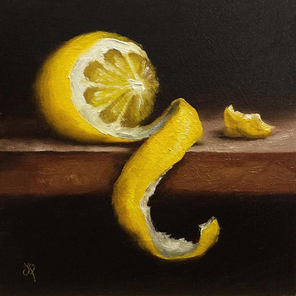 """Peeled lemon"" original fine art by Jane Palmer"