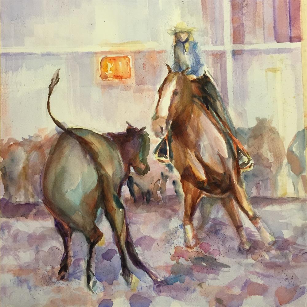 """Cowgirl Cattle Cutting"" original fine art by Jean Krueger"