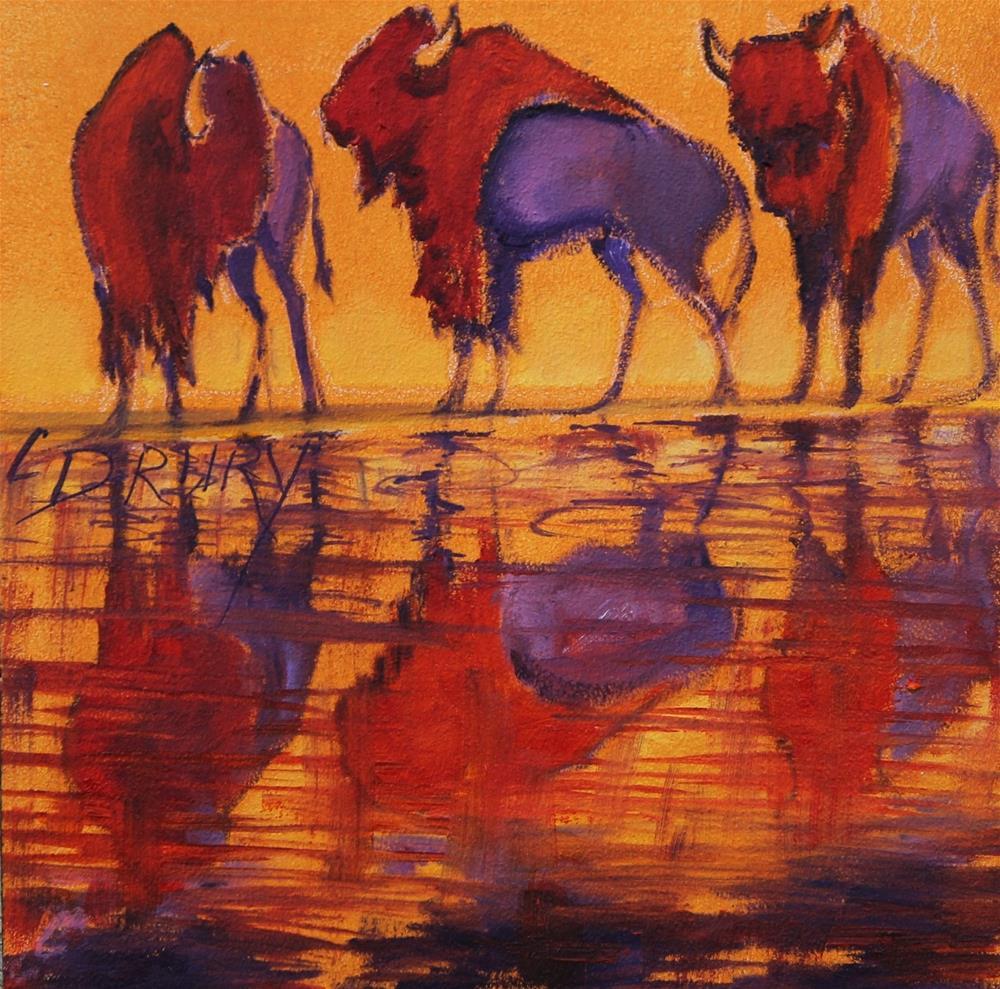"""Bison Reflections"" original fine art by Colleen Drury"