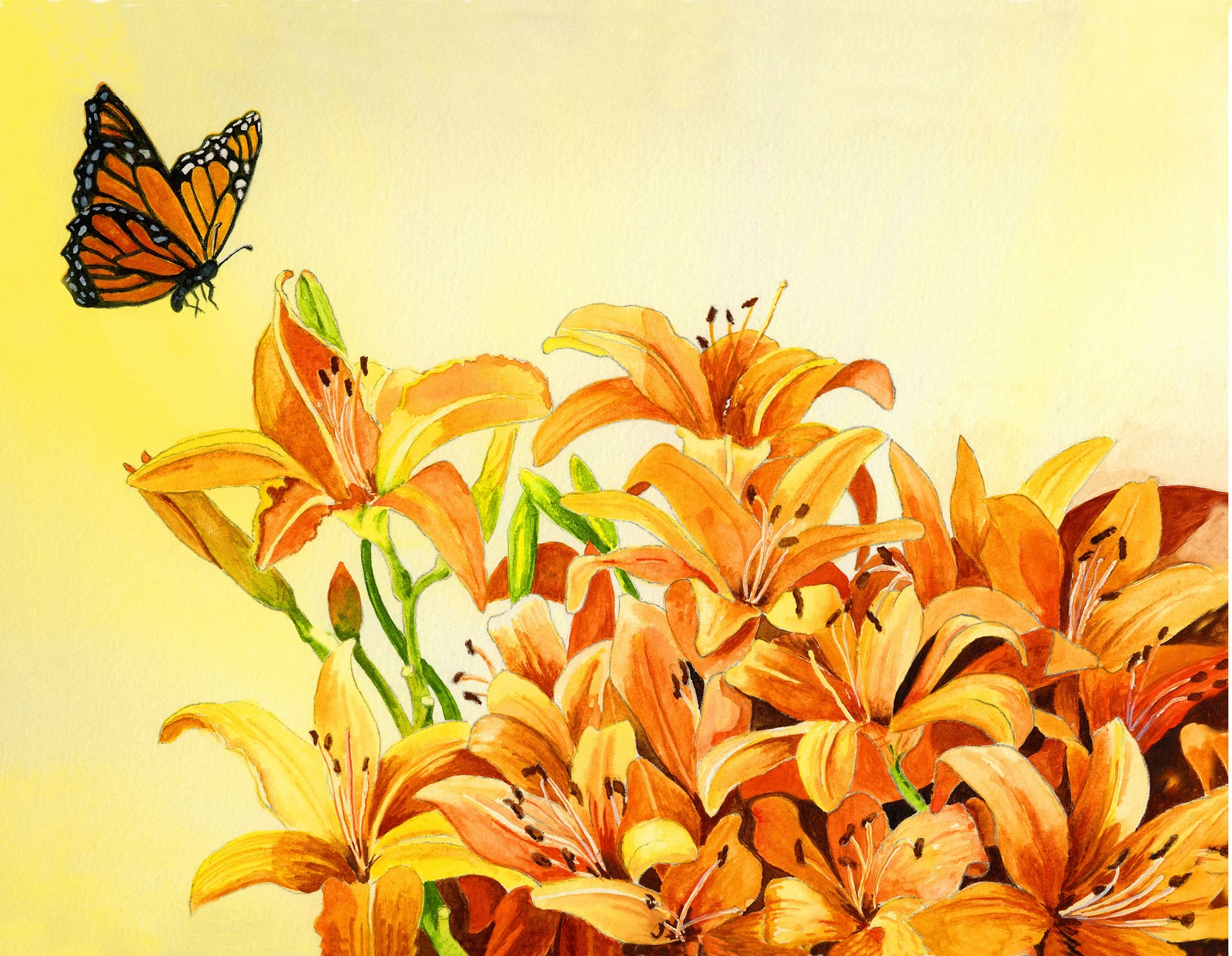 """""""Day Lilies With Guest"""" original fine art by Michelle Wolfe"""