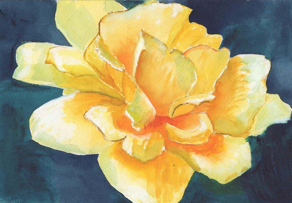 """""""YELLOW ROSE #4"""" original fine art by Bunny Griffeth"""