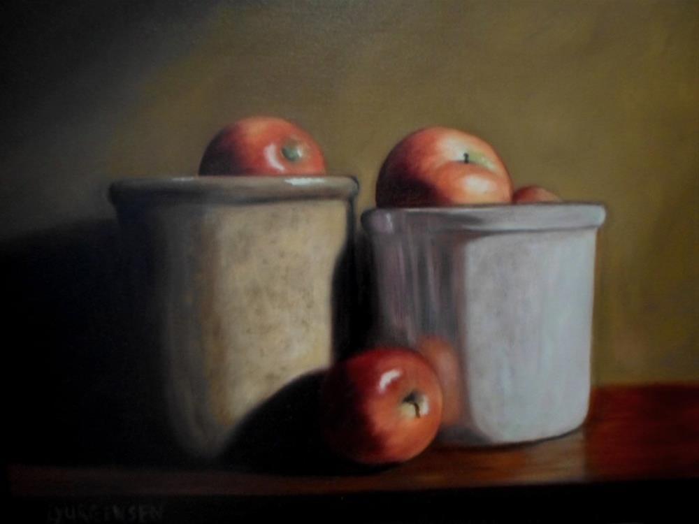 """16 x 20 inch oil Three Apples"" original fine art by Linda Yurgensen"