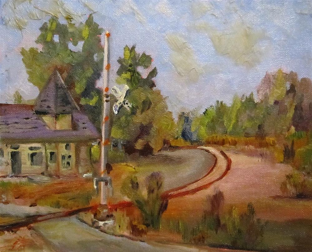 """Rail Road Crossing"" original fine art by Delilah Smith"