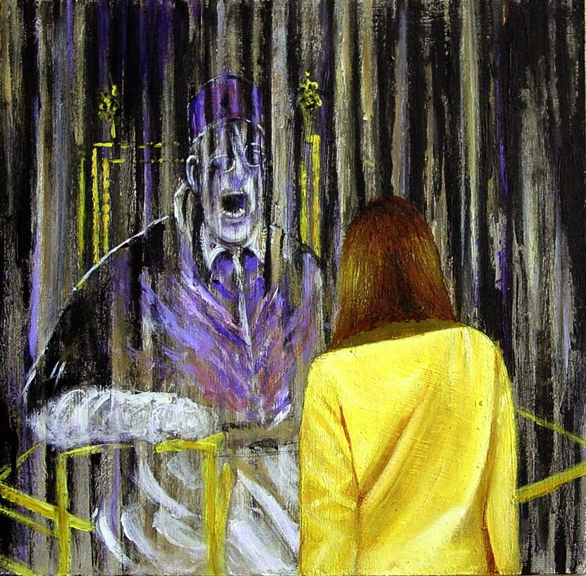 """""""Screaming Pope- Painting Of Woman Wnjoying Painting Of Screaming Pope By Francis Bacon"""" original fine art by Gerard Boersma"""