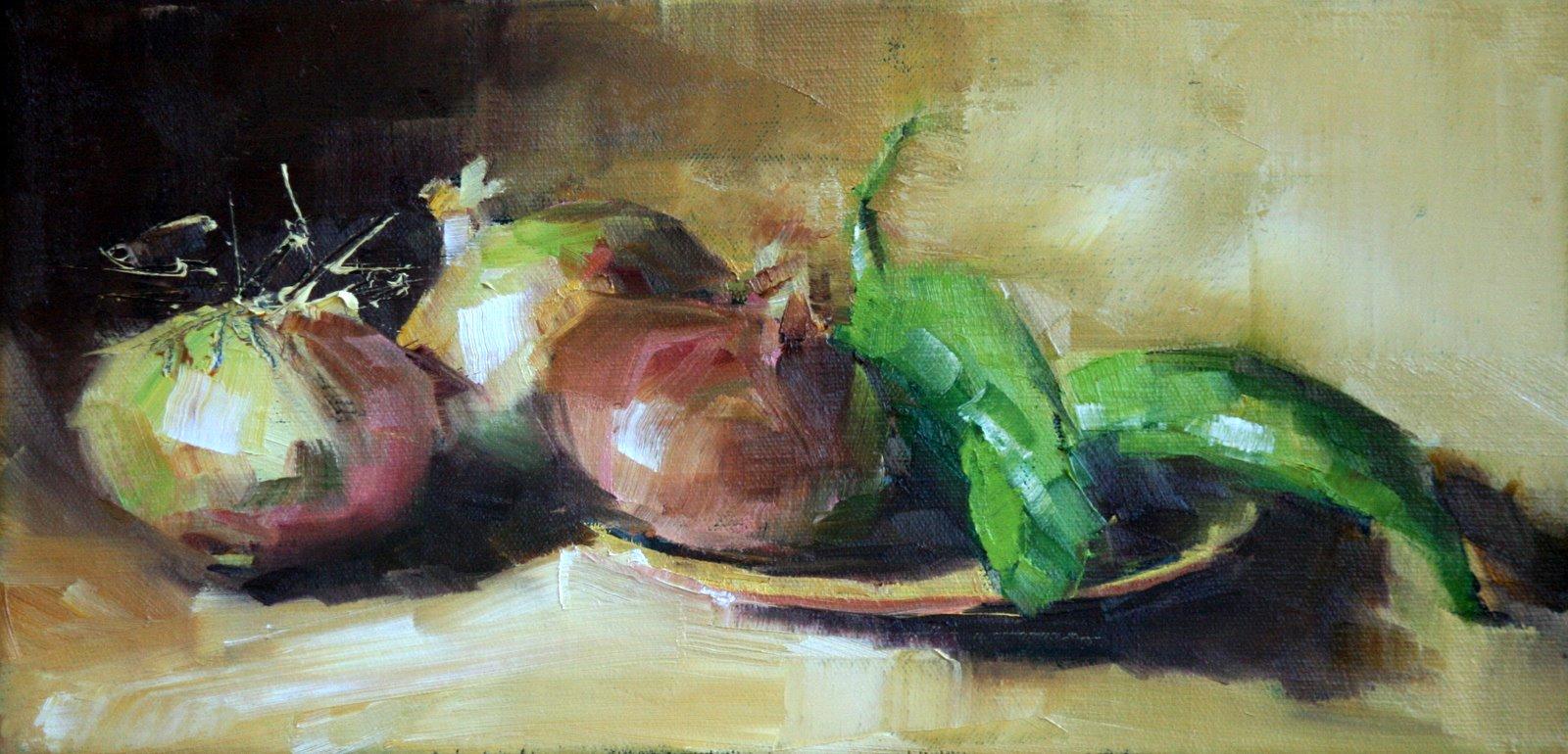 """""""vidalias and peppers"""" original fine art by Carol Carmichael"""